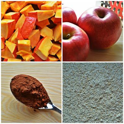 Ciasto dyniowe z jabłkami i czekoladą - składniki