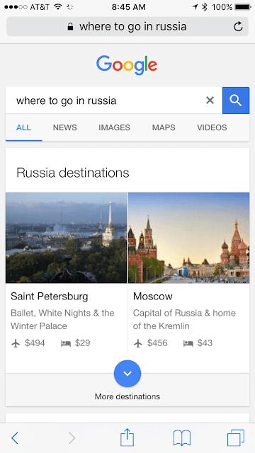 Google propose directement des destinations, vols et hôtel à réserver