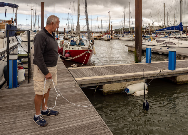 Photo of Phil testing the flag pole floats