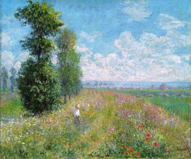 A woman walking by sunny meadow near poplar trees