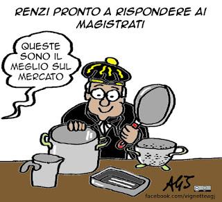 Renzi, trivelle, magistratura, pentole, vignetta, satira