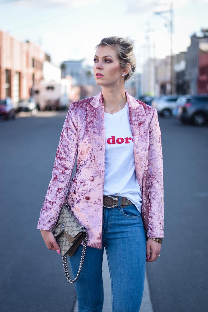 Velvet pink blazer