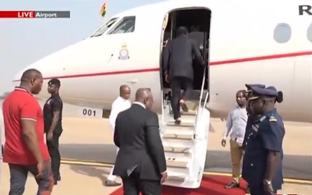 President Nana Addo Dankwa Akufo-Addo on his way to Monrovia, Liberia.