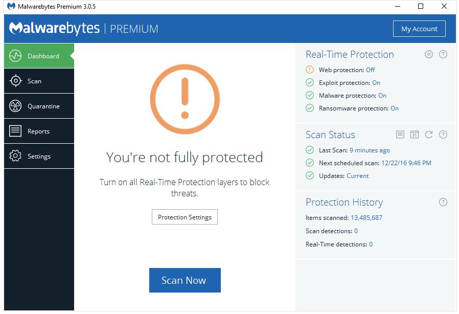 Malwarebytes real time protection won t start