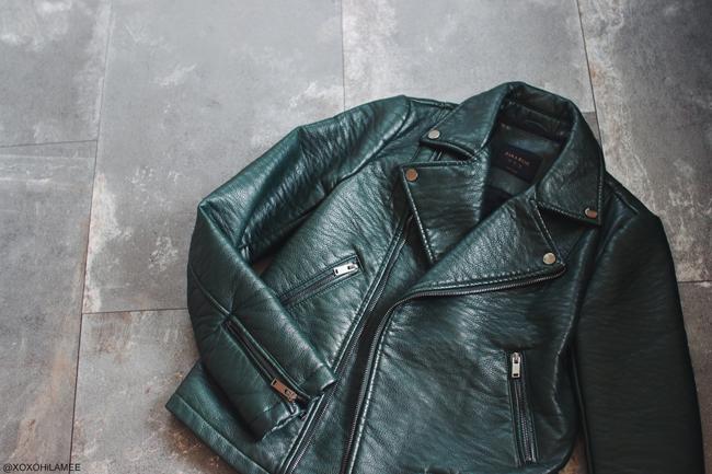 日本人ファッションブロガー,MizuhoK,3月に買ったもの、ZARA 深緑のライダースジャケット メルカリで