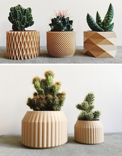 modern and intricate geometric planters by Minimum Design are 3D printed products made from recycled wood fibers and bioplastic