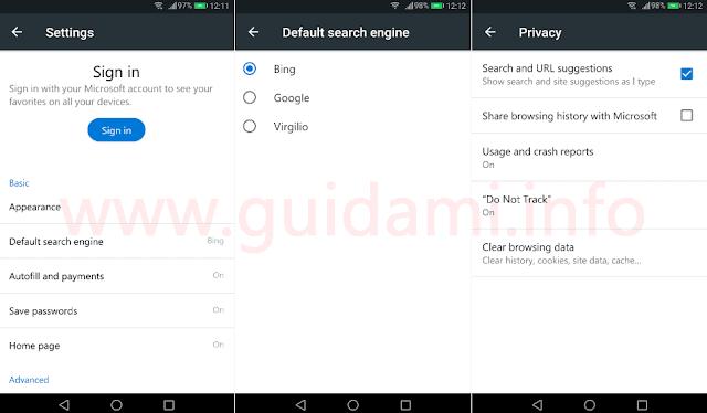 Microsoft Edge Preview per Android impostazioni