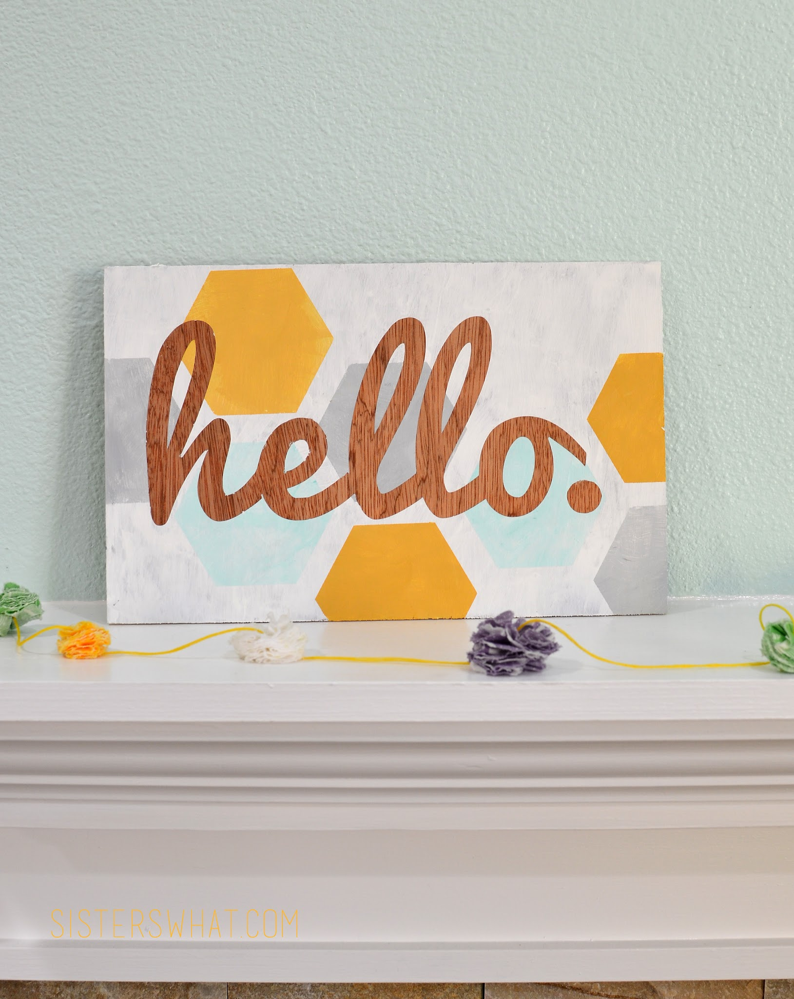 wood home hello sign