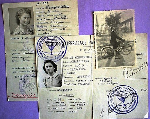 ID documents of WWII Resistance fighters Wanda and Christiane de Komornicka