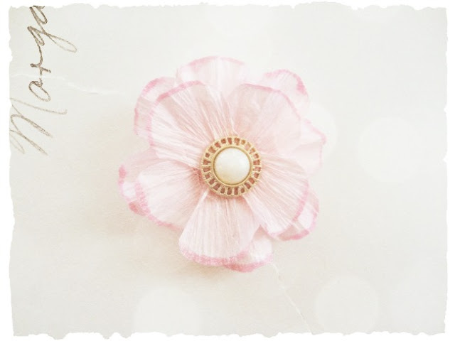 Vintage Button Flower Center on Crepe Paper Flower by Dana Tatar