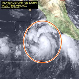 Image result for ciclón John se convierte en huracán categoría 1 en el pacífico mexicano