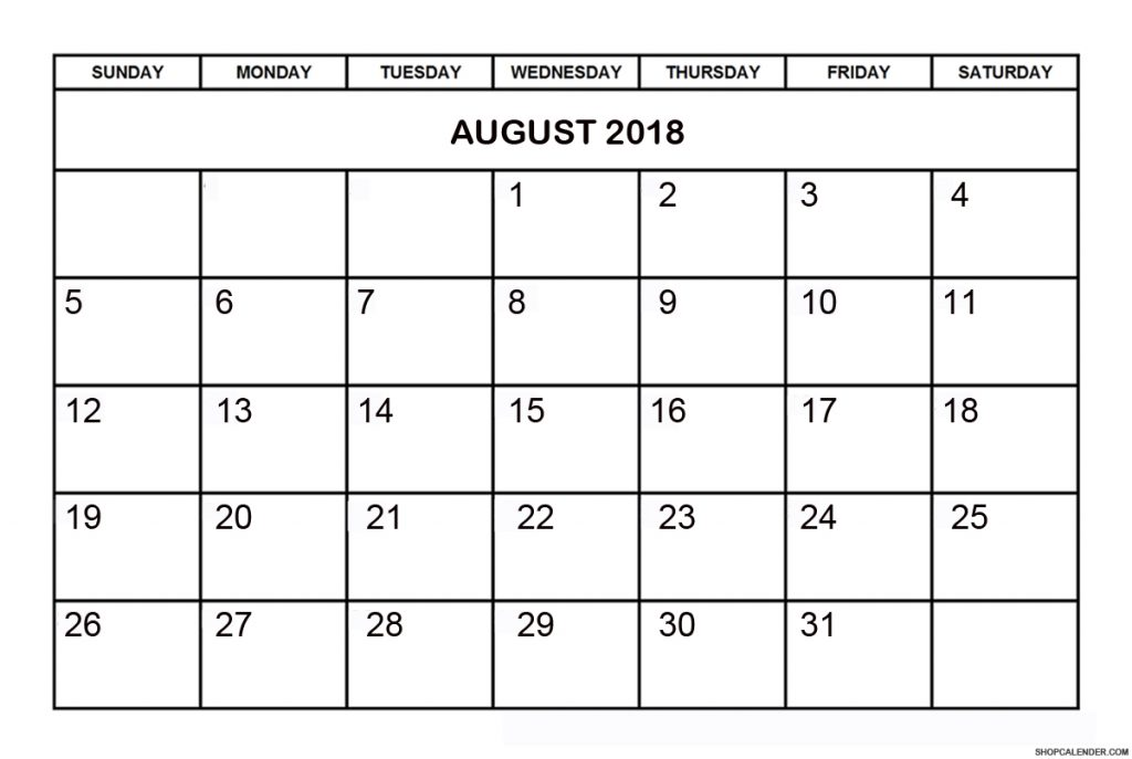 Printable August 2018 Calendar Templates - PDF Word Holidays - Get
