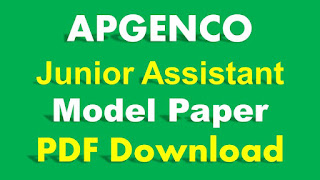 APGENCO Junior Assistant Model Paper PDF Download