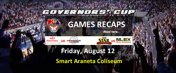List of PBA Games Friday August 12, 2016 @ Smart Araneta Coliseum