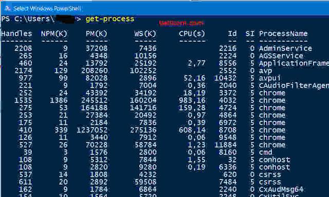 powershell melihat program aplikasi yang sedang berjalan