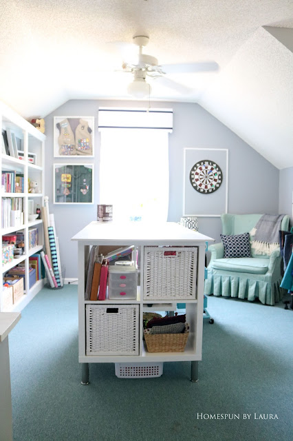 One Room Challenge Week 6 Home Office Sewing Craft Room Transformation craft table