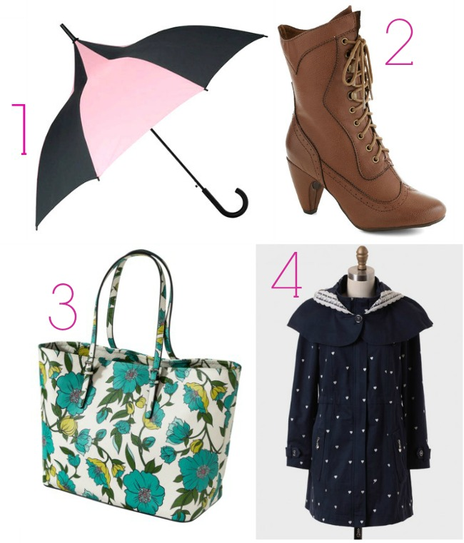 vintage rainy day fashion- vintage umbrella, steakmpunk boots