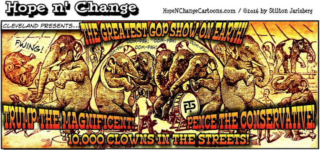 obama, obama jokes, political, humor, cartoon, conservative, hope n' change, hope and change, stilton jarlsberg, gop, convention, demonstrators, terror, police, turkey,circus