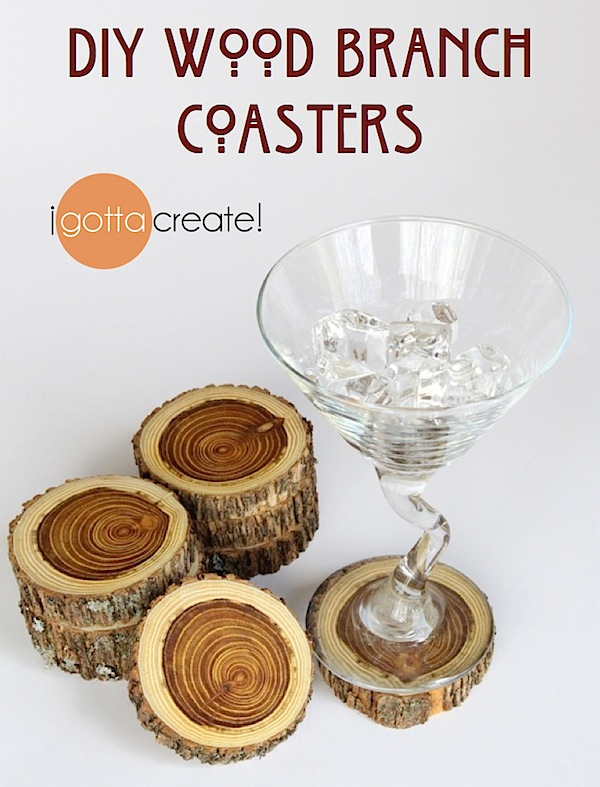 DIY Wood Coasters from a branch. Beautiful gift for housewarming, wedding, fathers day. | Details at I Gotta Create!