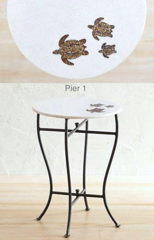 Coastal Accent Table with Sea Turtle Tile Design