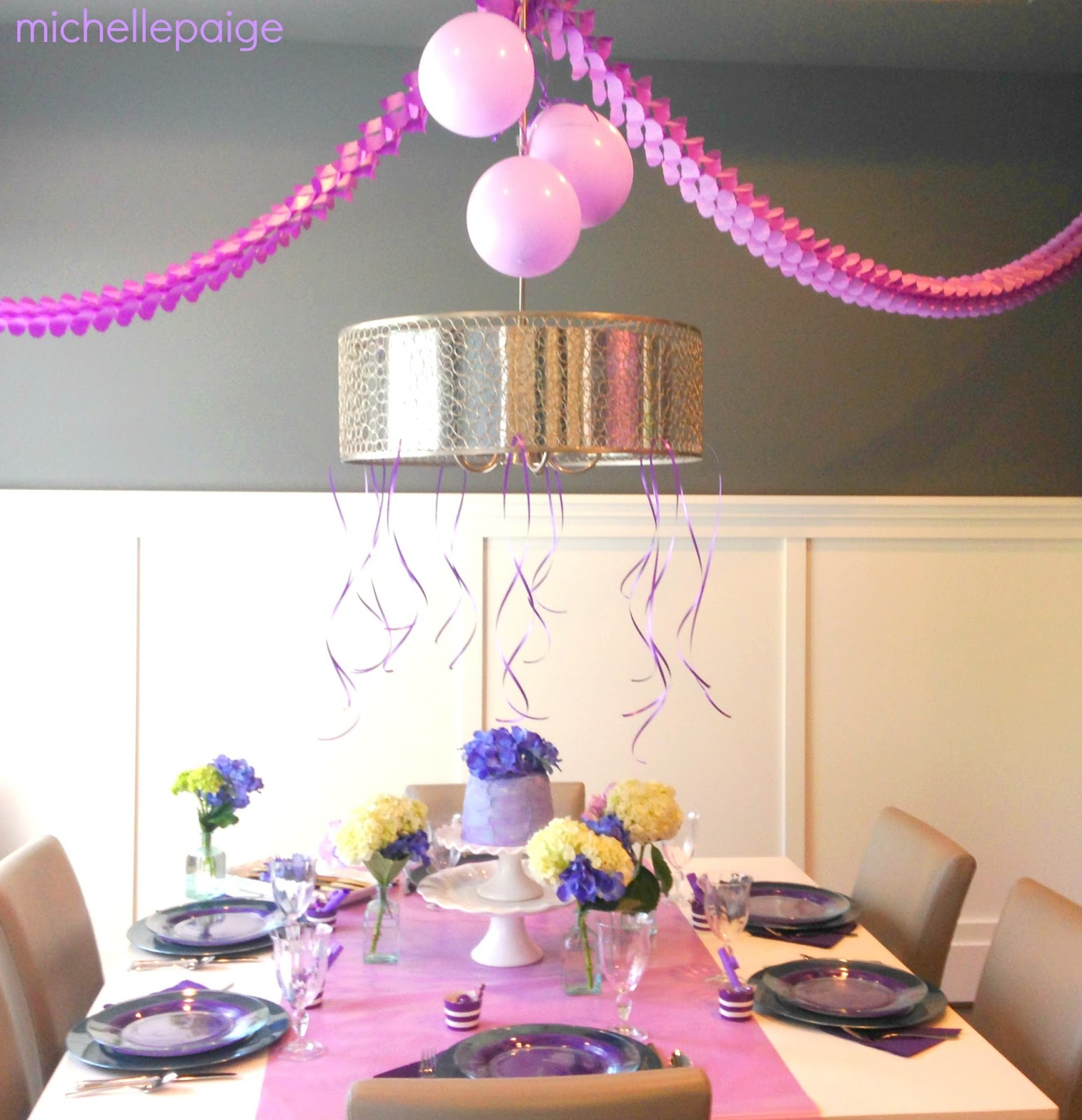 Michelle paige blogs purple hydrangea birthday lavender wrapping paper lined the table purple balloons curling ribbon and serpentine party dcor helped decorate our dining room izmirmasajfo