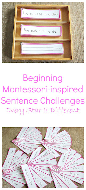 Beginning Montessori-inspired Sentence Challenges