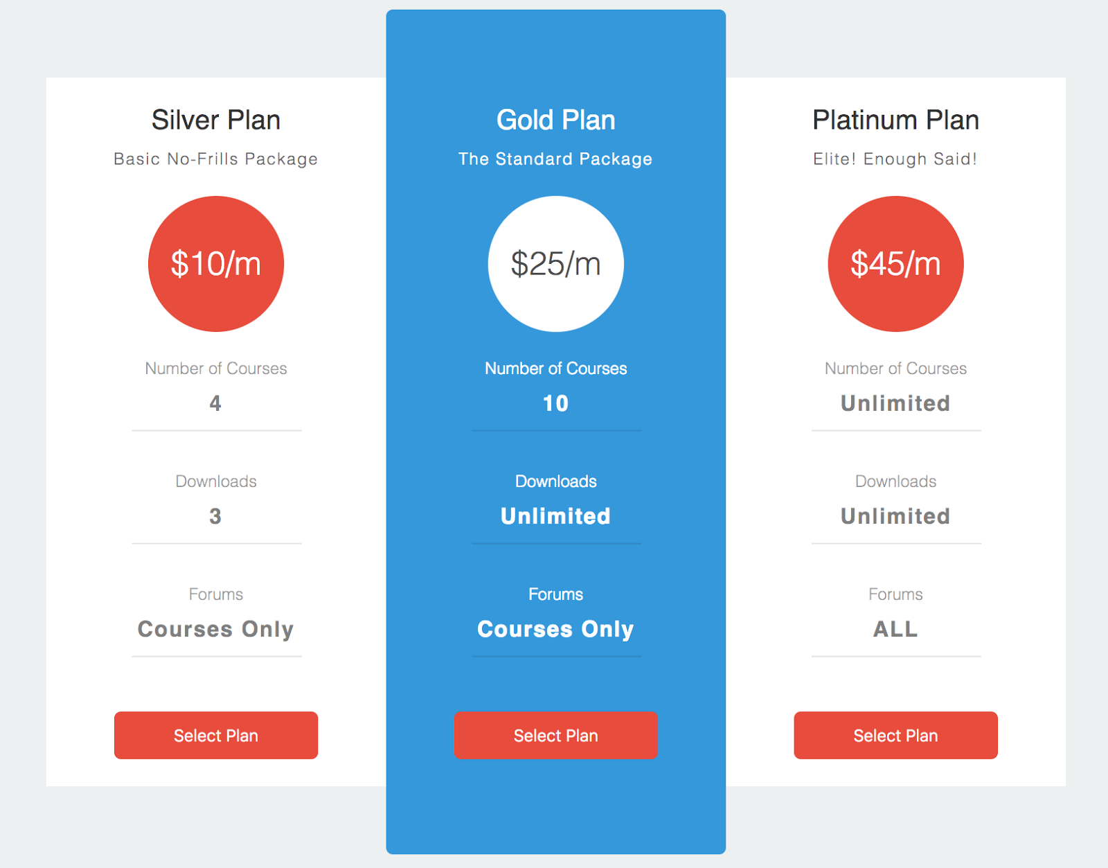 CSS and HTML Flat Price Modal table