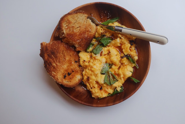 The Fluffiest Scrambled Eggs with Basil and Chipotle Butter