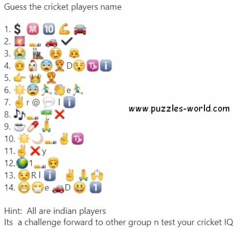 Guess the Cricket Players name Emoji Quiz