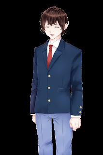 笑顔の紺色のブレザー制服の学生の立ち絵フリー素材
