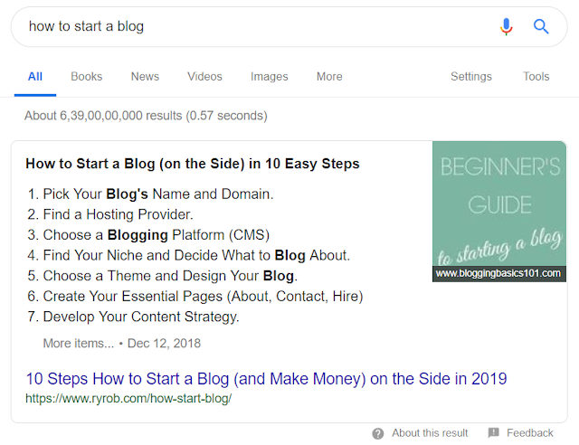 Google featured snippet 1