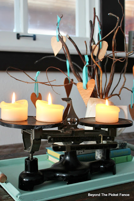 centerpiece, DIY, 5 steps, Valentine's Day, fusion mineral paint, copper paint, tray, natural decor, candles, balance, scale, old books, http://bec4-beyondthepicketfence.blogspot.com/2016/01/how-to-make-centerpiece.html