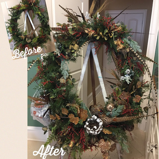 rustic wreath makeover with pheasant feathers