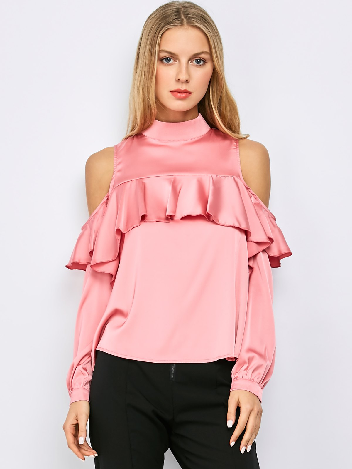 Stand Neck Cold Shoulder Flounced Blouse - Pink