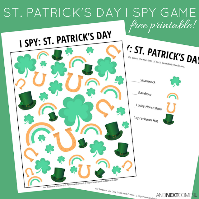 Free printable St. Patrick's Day I Spy game for kids from And Next Comes L