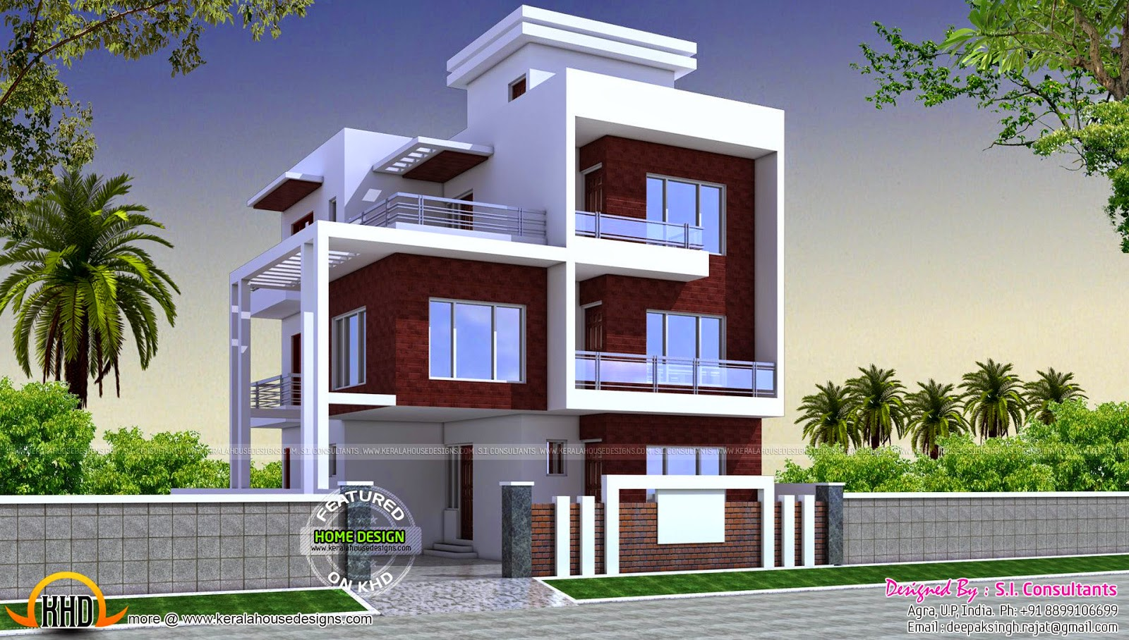 three floor contemporary house kerala home design and