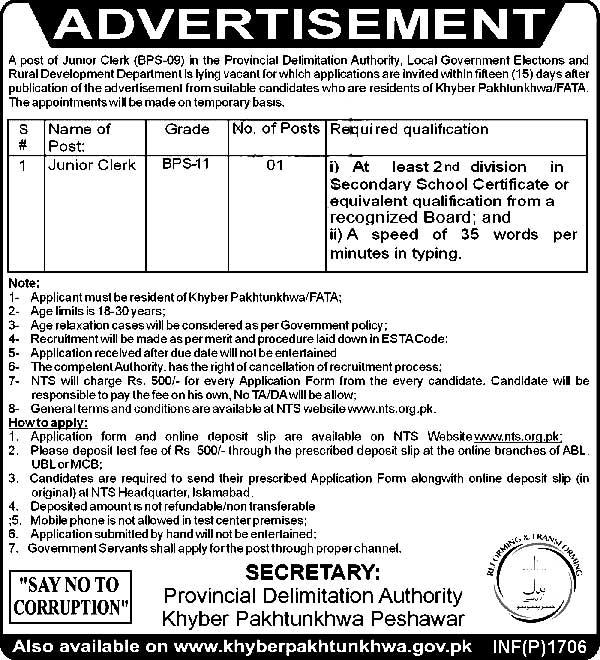 Jobs Available in Pakistan Provincial Delimitation Authority – KPK Local Govt,  Elections & Rural Development Department