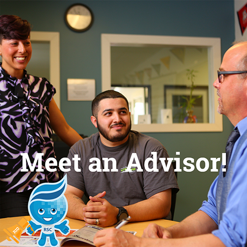 image of a student meeting with a couple of advisors.  Rio mascot splash in the foreground with a bull horn