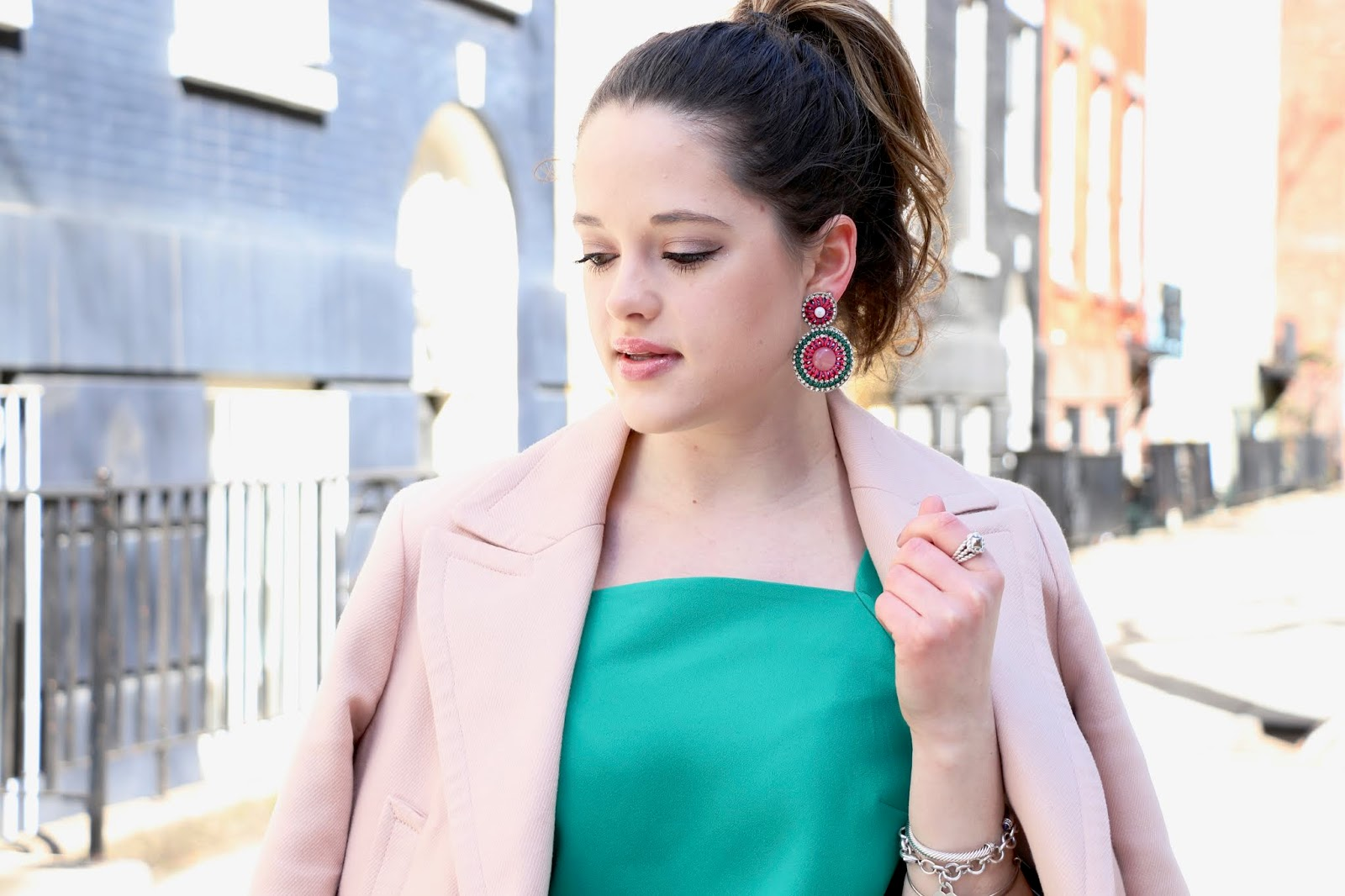Nyc fashion blogger Kathleen Harper wearing dangle statement earrings