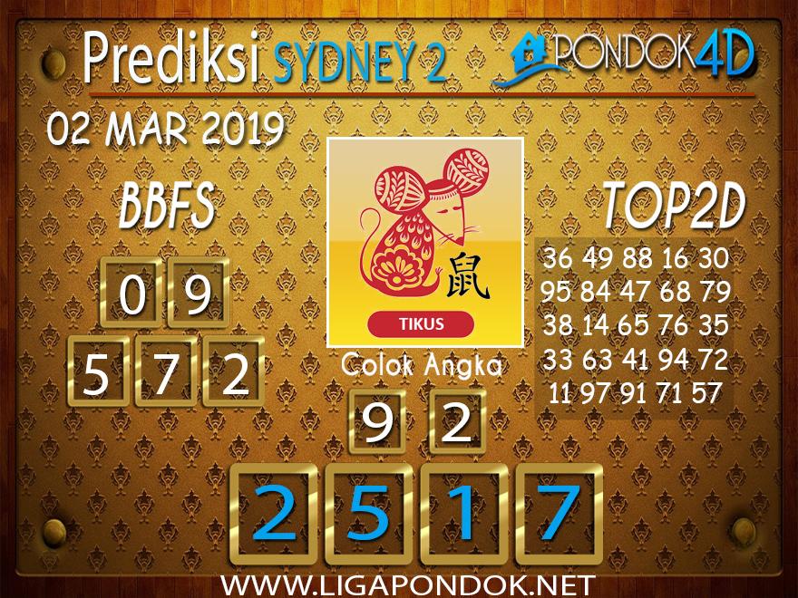 Prediksi Togel SYDNEY2 PONDOK4D 02 MARET 2019
