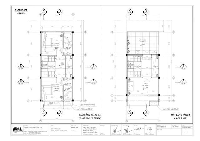 Thiết kế mặt bằng tầng 3-4-5 Shophouse 76m2