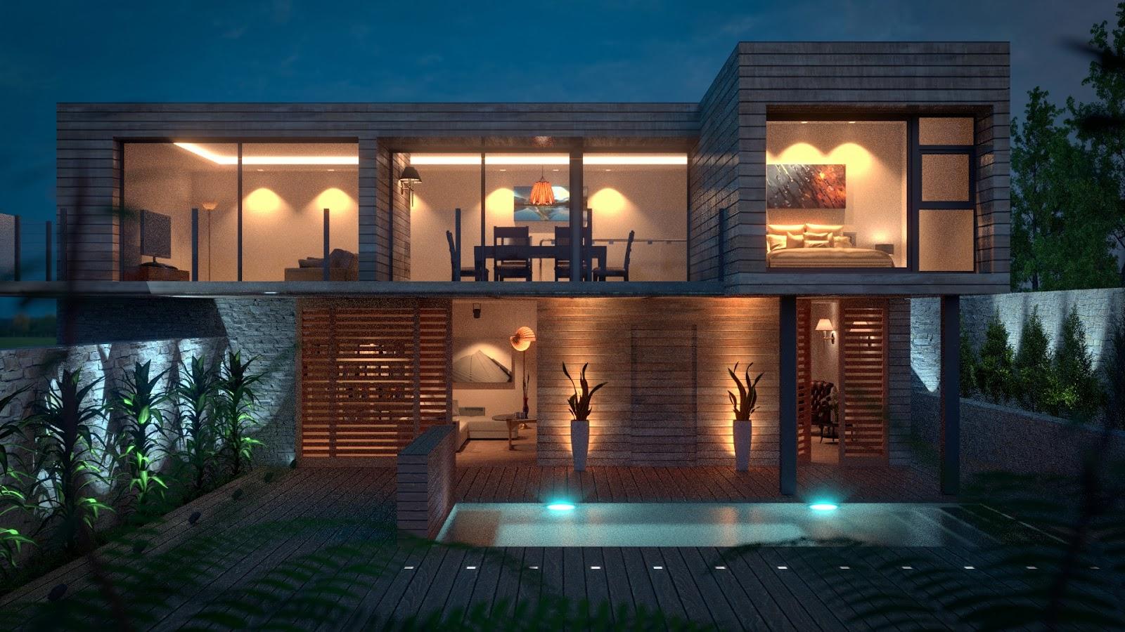 Artwork On Screen Pool Deck House Model Blender Render