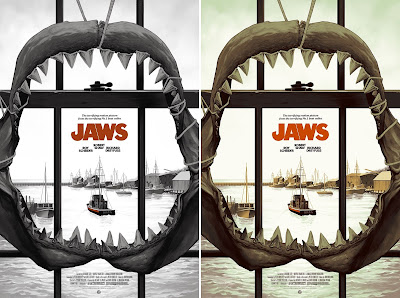 Jaws Movie Poster Screen Print by Phantom City Creative x Mondo - San Diego Comic-Con 2017 Exclusive Monotone Variant & Regular Edition