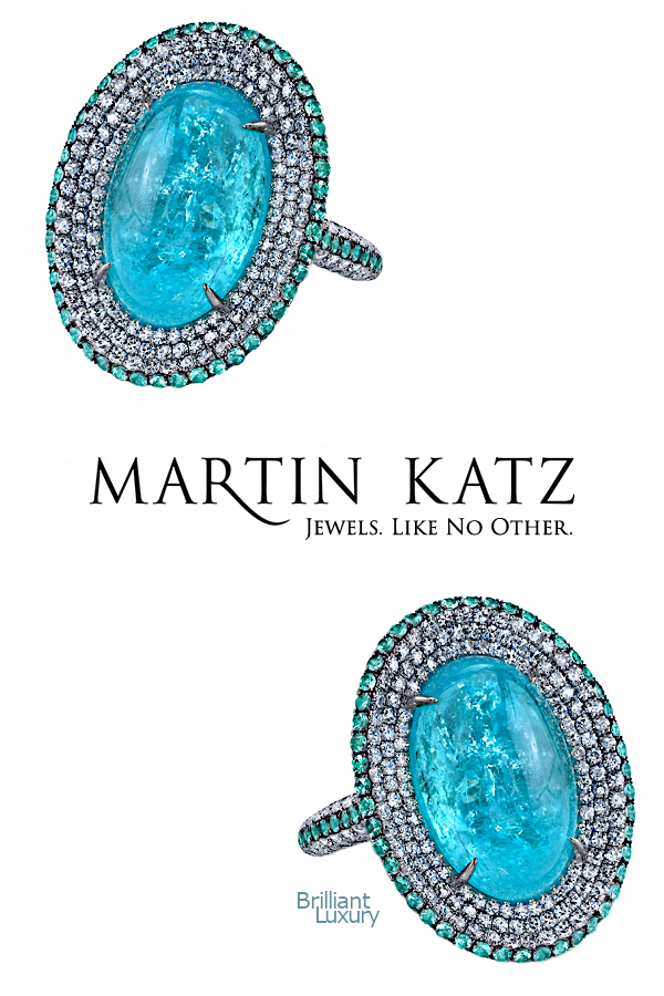 Brilliant Luxury♦Martin Katz 12.41 ct oval paraiba cabochon and diamond ring