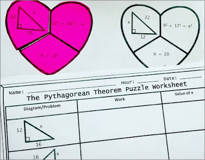 Valentine's Day math activity puzzle Pythagorean Theorem for Geometry