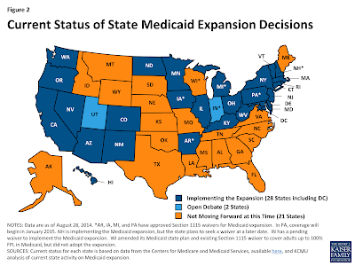 Map of the U.S. showing the States that have expanded Medicaid, still debating expansion, and not moving forward at this time.
