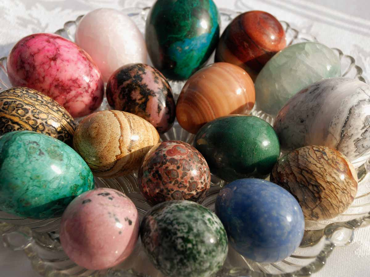 Stone Easter Eggs in Vintage American Glass Egg Tray