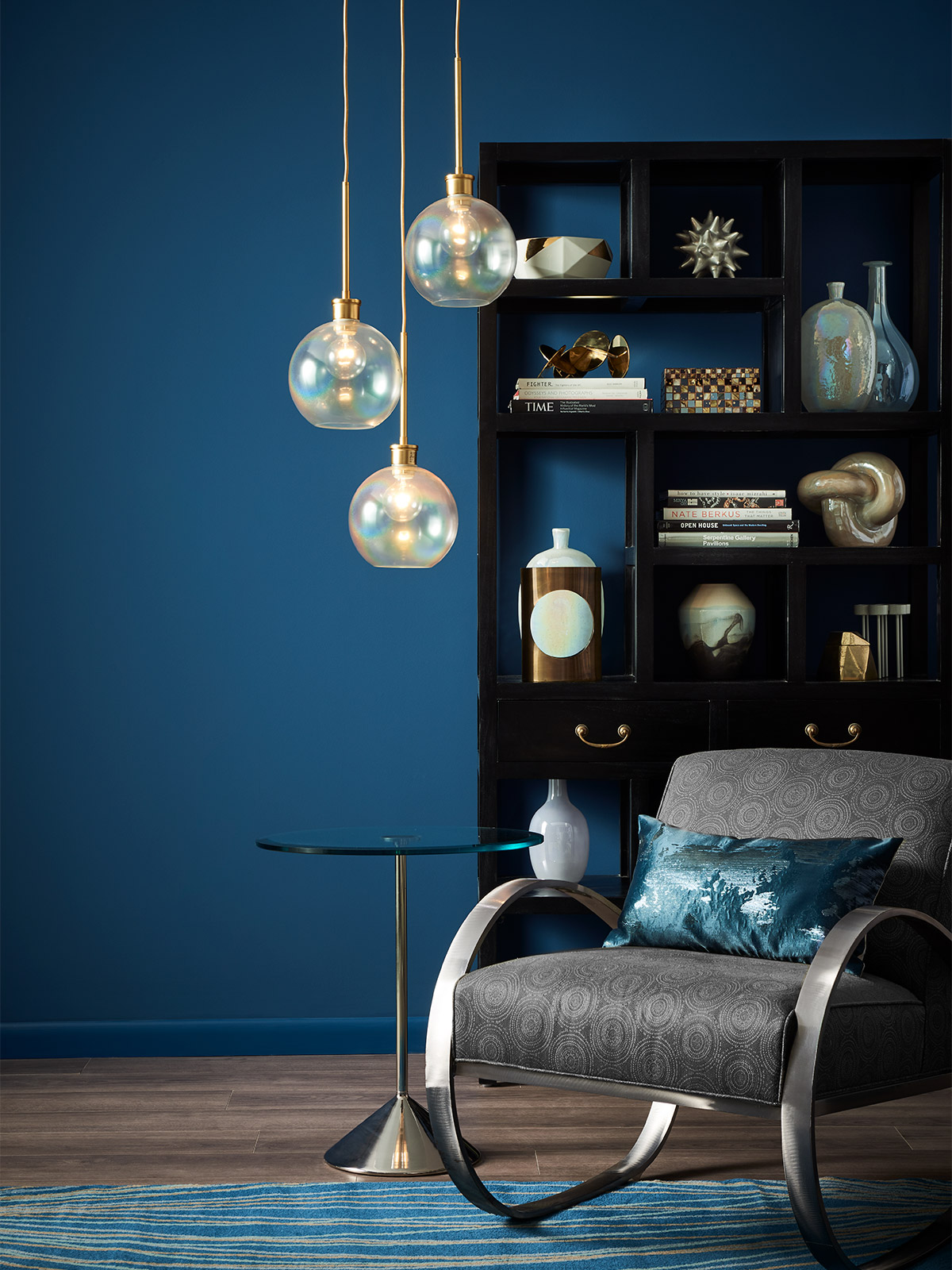 living room with dark blue painted walls