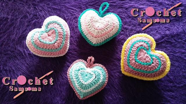 كروشيه قلب مجسم . كروشيه قلب . كروشيه قلب   Saint Valentin  .  كروشيه قلب مجسم بطريقة سهلة //  How to crochet a heart .  Crochet heart  .  How to crochet a heart