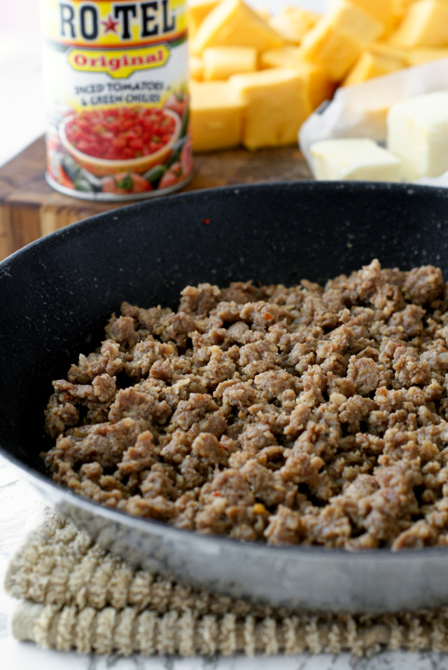 Just four ingredients needed to make Cindee's Nacho Cheese Sausage Dip!